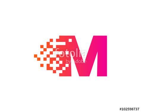 quot letter m pixel motion logo design template quot stock image