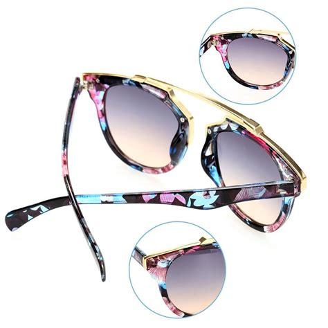 Kacamata Wanita 719 Sunglass Hitam Lis Gold cyber mode wanita panas wanita luar ruangan kaca bundar