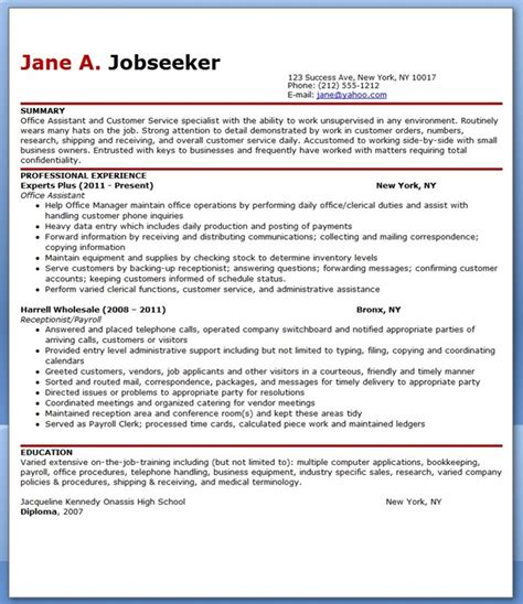 Office Assistant Resume Format by Office Assistant Resume Sle Pdf Resume Downloads