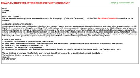 appointment letter format for recruitment recruitment consultant offer letter sle format