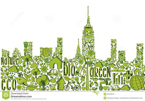 Energy Saving House Plans green city silhouette with environmental icons royalty