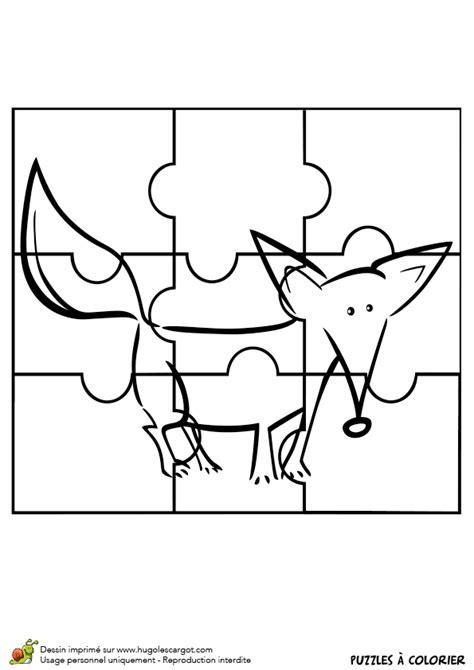 Dessin à colorier d'un puzzle petit renard