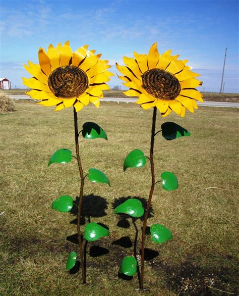 Sunflower Garden Decor with Recycled Metal Fence Newhairstylesformen2014