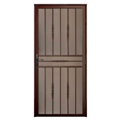 Unique Home Designs 36 in. x 80 in. Cottage Rose Copper Recessed Mount Steel Security Door with