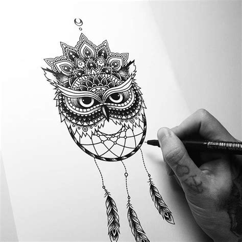 attractive dotwork owl and dream catcher with mandala