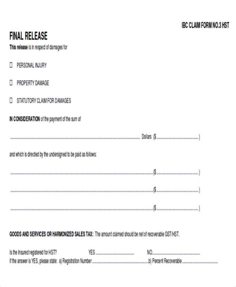 9 Sle Insurance Release Forms Sle Templates Claim Release Form Template