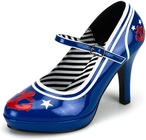 sailor shoes s11 blue sailor shoes heels navy pin up burlesque