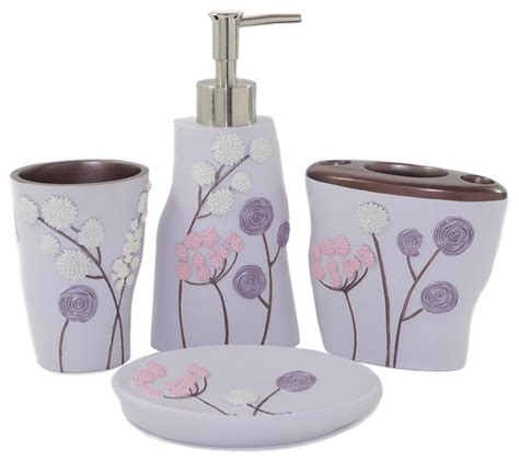 bath purple flower 4 bath accessories set
