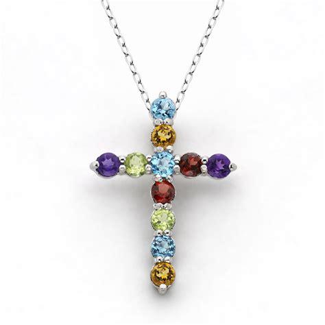 multi gemstone cross pendant sterling silver
