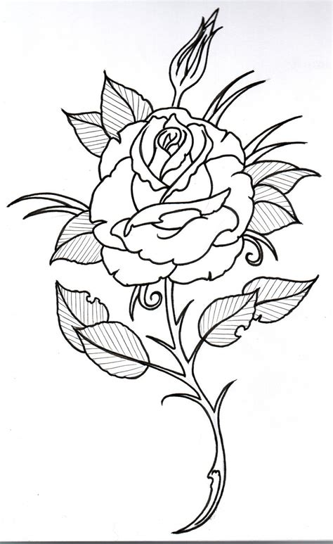 tattoo rose outline outline 3 by vikingtattoo on deviantart