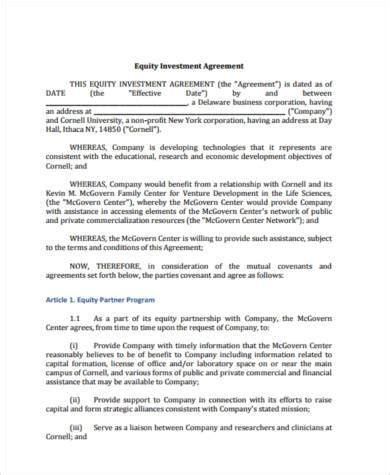 sweat equity agreement template sle investment agreement forms 8 free documents in pdf