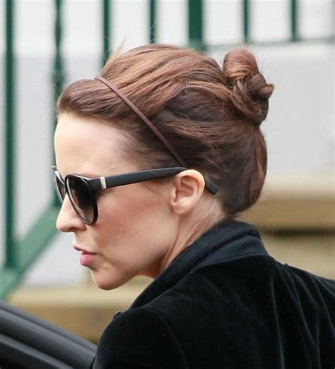 casual chignon updo hairstyle for women kylie minogue hairstyle kylie minogue casual daily bun updo hairstyle for short