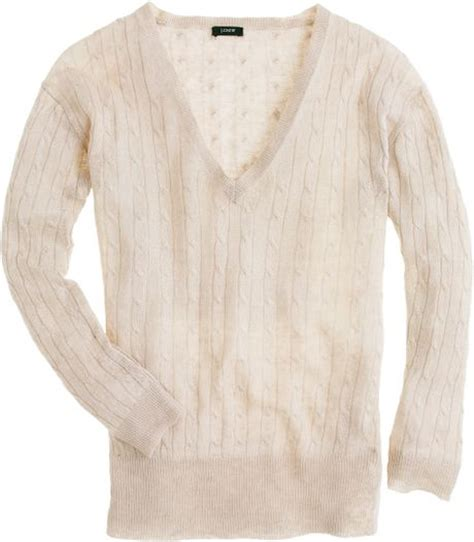 j crew cable knit sweater j crew linen v neck cable knit sweater in beige flax lyst