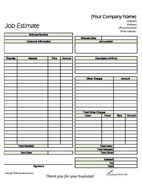 estimate printable forms templates print