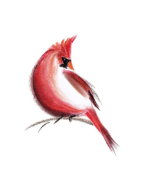 watercolor cardinal tattoo cardinal print of pastel drawing bird