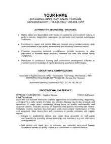 Auto Mechanic Resume Exles by Resume Exles Templates Automotive Master Mechanics Resume Exles Automotive Technician