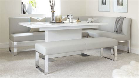 white corner bench 5 seater left hand corner bench and extending dining table