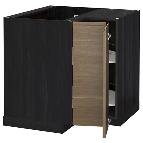 Black Corner Cabinet For Kitchen Metod Corner Base Cabinet With Carousel Black Voxtorp Walnut 88x88 Cm Ikea