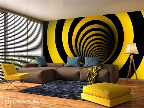 wall paper murals curved in yellow and black optically magnifying wallpaper mural photo wallpapers demural