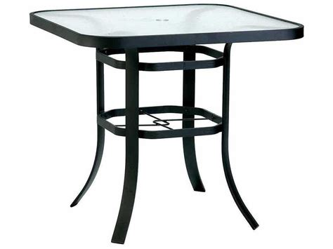 Patio Umbrella Tables Winston Obscure Glass Aluminum 42 Square Bar Table With Umbrella M8342hgu