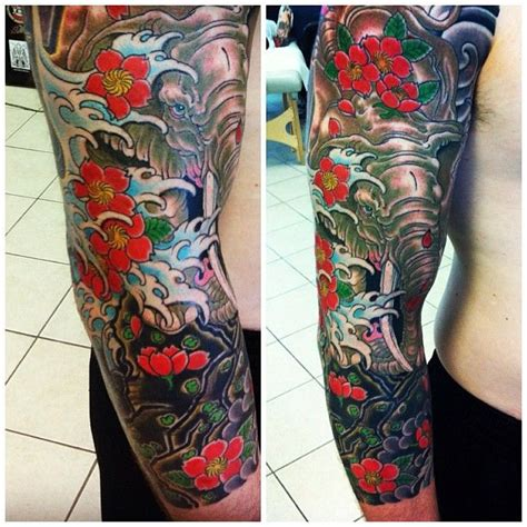 cool japanese tattoos really cool elephant half sleeve implementing the