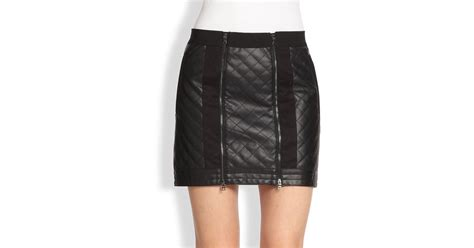 bcbgmaxazria quilted faux leather moto skirt in black lyst