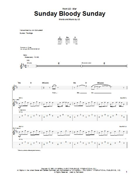 my bloody tab sunday bloody sunday by u2 guitar tab guitar instructor