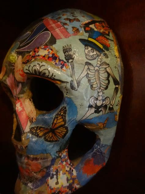 Decoupage Mask - skull mask decoupage skulls