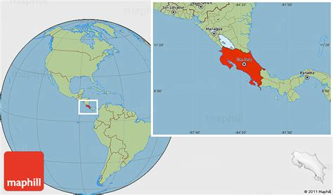 where is costa rica on a world map savanna style location map of costa rica