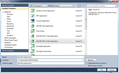 design web form in visual studio 2010 mvc 3 template selection with visual studio 2010