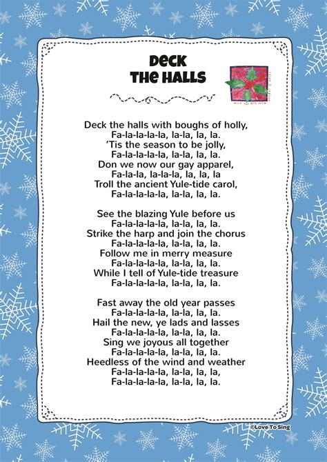 printable lyrics for deck the halls deck the hall kids video song with free lyrics activities