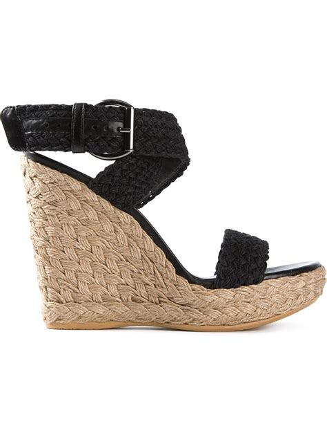 stuart weitzman woven wedge sandals in black lyst