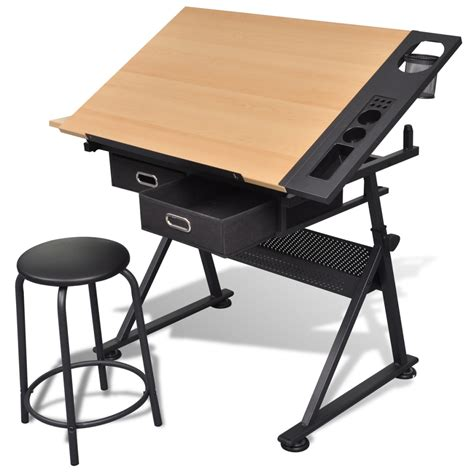 Drafting Table And Desk Vidaxl Co Uk Two Drawers Tiltable Tabletop Drawing Table With Stool