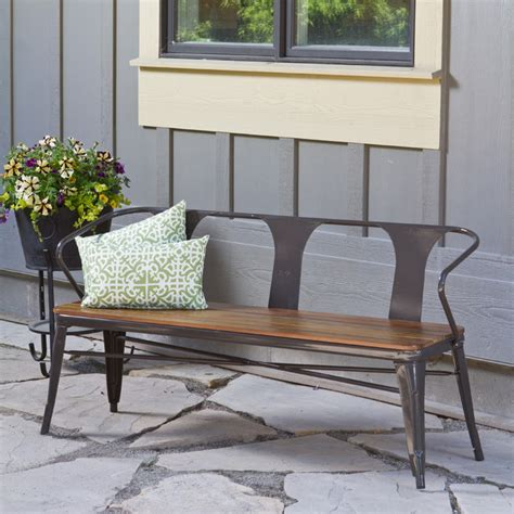 outdoor bench frames jardin outdoor steel frame bench contemporary outdoor benches by overstock com