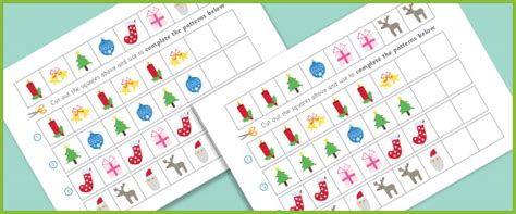 Christmas Patterns Early Years | complete the pattern worksheets christmas free early