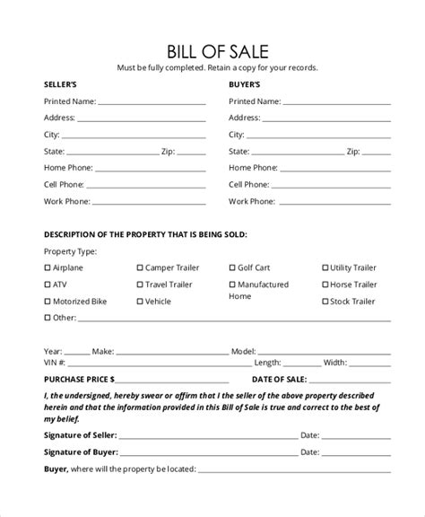printable generic car bill of sale printable bill of sale sle bill of sale form template