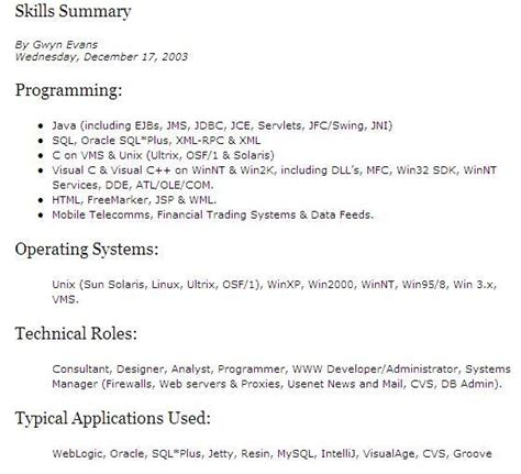 resume summary of skills exles summary of skills