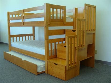 Bunk Bed With Stairs And Trundle Save On Stairway Bunk Bed With Trundle Caramel