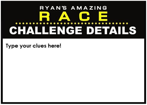race race card template amazing race clues challenge cards editable