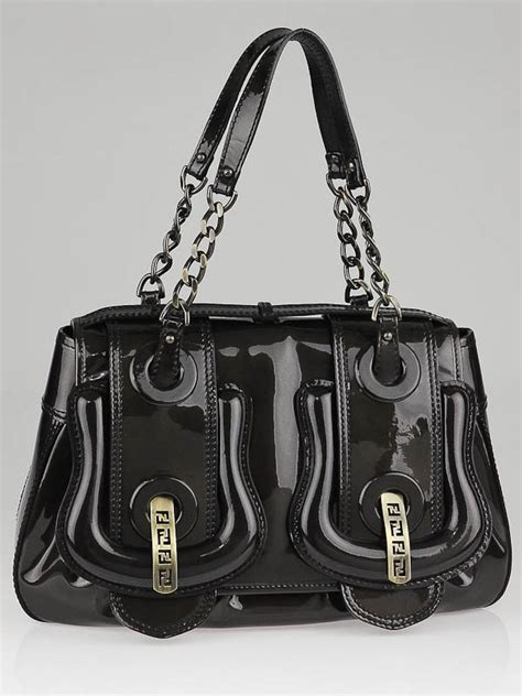 Fendi Patent B Bag Is Oh So by Fendi Grey Patent Leather B Bag Yoogi S Closet