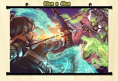 Poster Overwatch 08 anime home decor wall scroll poster overwatch hanzo vs genji home decor a0326 in painting