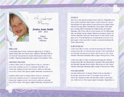 funeral phlet templates free child funeral program