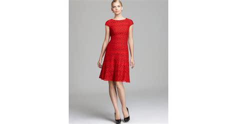 cap sleeve swing dress anne klein lace swing dress cap sleeve in red lyst