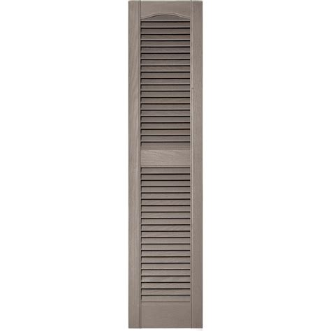 Builders Edge 12 In X 52 In Louvered Vinyl Exterior Home Depot Exterior Shutters