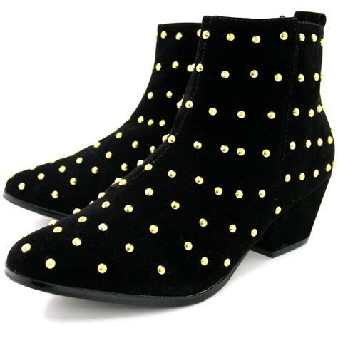 nyla cuban heel studded western ankle boots black suede