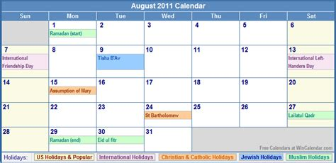 August 2011 Calendar August 2011 Calendar With Holidays As Picture