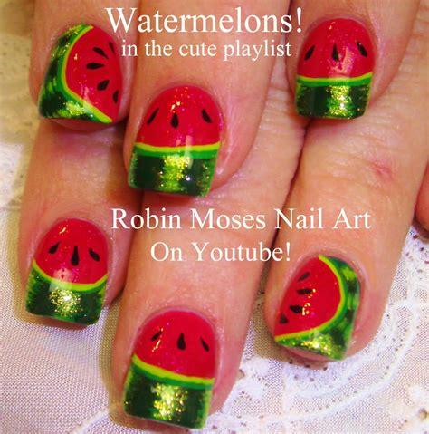 nail art tutorial kiwi robin moses nail art quot watermelon nails quot quot watermelon nail