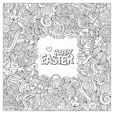 free printable easter coloring pages for adults doodle easter by olga kostenko easter coloring pages