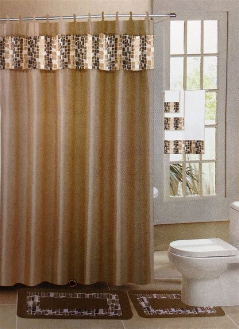 Bathroom Curtain And Rug Sets 18 Pc Bath Rug Set Taupe Tile Design Bathroom Shower Curtain Rings Towels Ebay