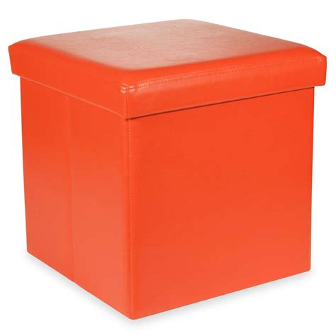 Storage Stool by Pop Orange Foldable Storage Stool Maisons Du Monde